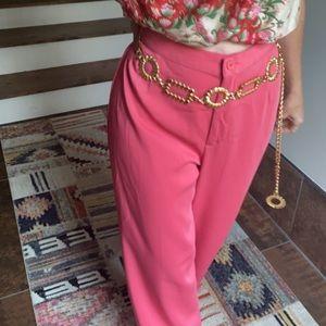 Vintage 80s coral wide-leg pants